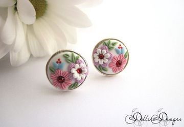 Joy * Handmade Floral Stud Earrings * Polymer Clay and Sterling Silver Earrings * Unique Jewelry * Embroidery Earrings * Applique