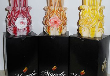 Set of 3 - Rose candle - Unique - Handmade gift candle - Hand Carved candles - 5 inch/ 12cm - red candle - orange candle - yellow candle