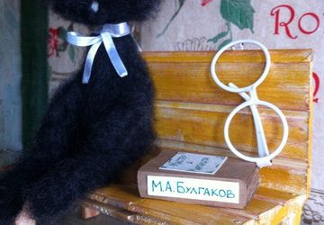 Black cat with glasses and a book