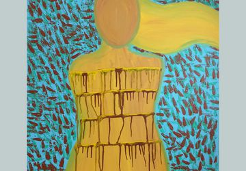 Abstract Figure Painting - Large Wall Art - Drip Painting - Home Decor - Office Decor - Wall Art - Poetry Art