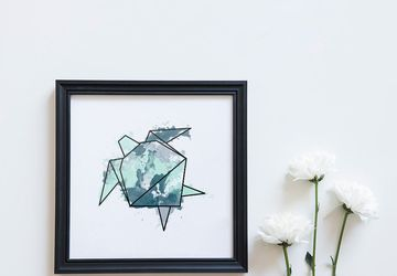 Sea turtle art, turtle print.