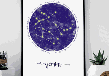 Gemini zodiac sign printable wall art