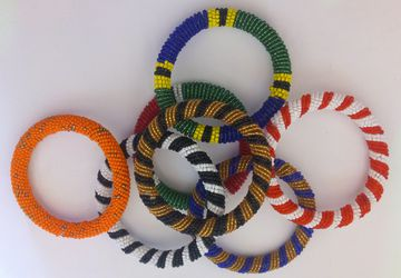 A set of 6 African beaded bangle