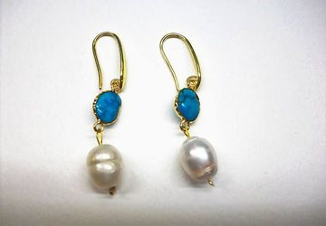 Dangle pearl and turquoise earrings
