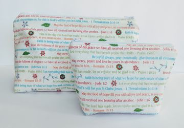 Bible Verses Matching Bag, Christian Cosmetic Bag, Religious Bag, Travel Pouch, Zipper Bag, Gift for Anyone, Religious Gift