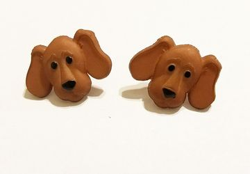 Cut Brown Dog Post Earrings #19