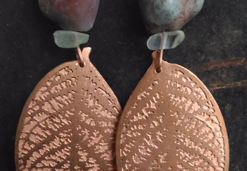 Copper engraved leaf earrings with fluorite and agate