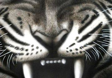 Tiger - a painting in aerographics without frame