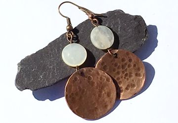 Hammered copper moon earrings with mother of pearl