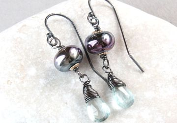 Lampwork And Aquamarine Teardrop Earrings Oxidized Silver March Birthstone Jewelry Gemstone Jewelry