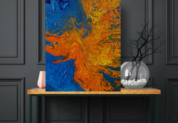 Large Acrylic Pour Painting, Orange Textured Painting, Large Original Painting on Canvas, Abstract Art On 24 x 36 inches
