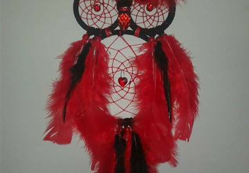 Red and Black Owl Dreamcatcher