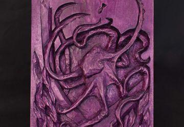 Octopus wood relief, handmade carving, basswood sculpture, purple