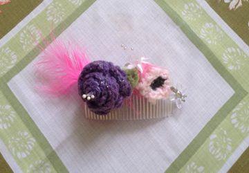 Crochet beaded & glass hair comb