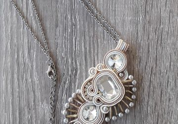 White soutache pendant, bridal necklace, wedding pendant, elegant necklace, wedding accessories, craft jewelry