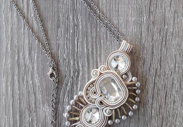 White soutache pendant, bridal necklace, wedding pendant, elegant necklace, wedding accessories, craft jewelry