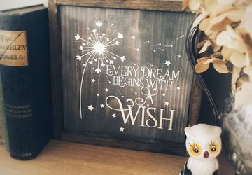 Every Dream Begins With a Wish Sign | Wooden Sign | Farmhouse Sign | Rustic wooden sign | Nursery | unique shower gift | encouragement gift