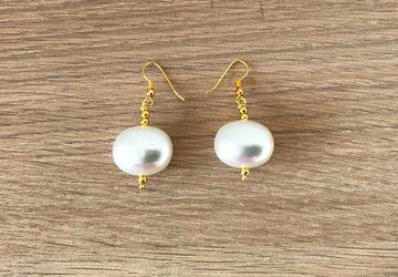 Real Freshwater Pearl Earring Handmade Large Pearl Drops Bridal Gold Earrings
