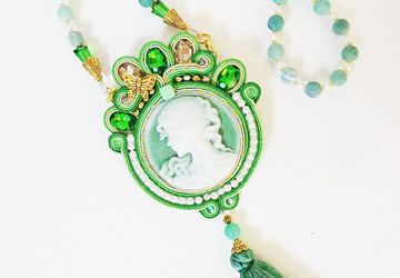 Green cameo necklace pendant, green pendant, soutache green necklace, Medallion Renaissance Necklace, Medieval Necklace, Cosplay Accessories