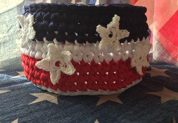 American's Patriotic Crochet Basket