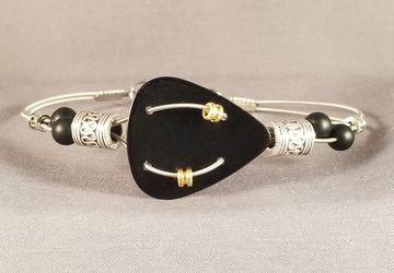 "Men's Guitar Pick and Guitar String Bracelet ""Black Pick"""