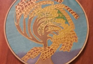 Tree of Seasons 6-inch Silk Painting with Gold Outline