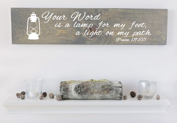 Your Word Is A Lamp Sign, Verse Sign, Christian Decoration, Christian Gift, Gifts for Her, Wood Wall Art, Christian Wall Art, Gifts for Wife