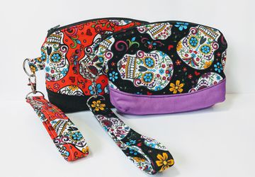 Sugar Skull Wristlet, Clematis Wristlet, Women's Grab n Go Wristlet, Fabric Wristlet, Cell Phone Wallet, Small Handbag, Gift for her