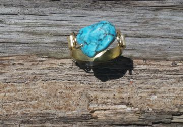 Handmade Gold Tone & Genuine Turquoise Ring