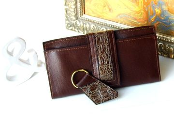 Women's Brown Vegan Leather Wallet and Matching Key Fob