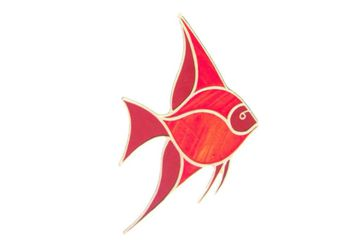 Angelfish Suncatcher, Red Tropical Fish Window Decoration, Ocean Life Angel Fish