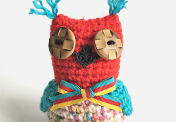 Little Red Crochet Owl Keyring Bag Charm