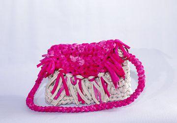 Boho Bag Free Shipping!!! /T-shirt Yarn Bag/Crochet Handmade Bag/Cotton Bag/Beige Pink TwoColor Bag/Summer Bag/Hobo Bag