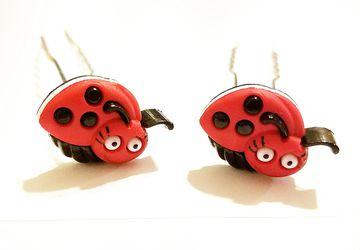 Cute Laddybug 3 Inch hair pin set #19