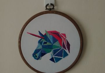Geometric Unicorn Embroidered Hanging Frame.