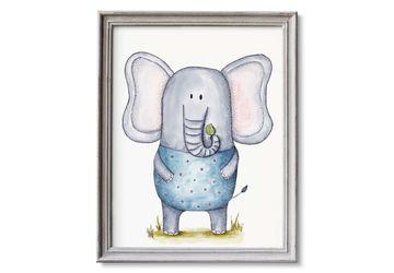 Printable Elephant Nursery Art, Watercolor Elephant Print, Safari Nursery Decor, Elephant Decor, Zoo Animals Art, 1st Birthady Gift