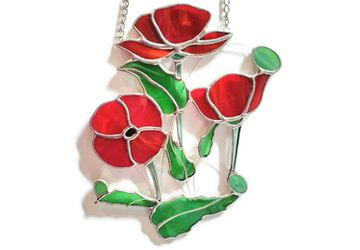 Red Poppy Stained Glass Window Suncatcher, Wedding Anniversary Retirement New Home Gift