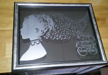 8x10 Etched Music Head Silhouette Mirror