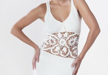 White silk dress with lace insertion