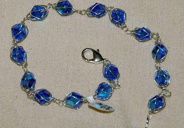 Egyptian blue caged crystal bracelet