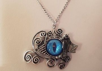 Dragon Eye Pendant/Dragon Eye Necklace/Dragon Jewelry/Dungeons and Dragons/Geekery Necklace/Wire Wrapped Dragon Eye