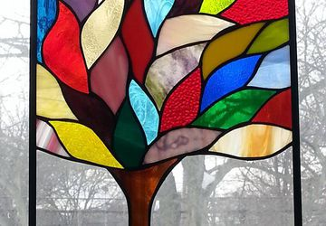 Stained glass Tree, leaded glass, window panel, art deco, studio 27 glass, hand crafted, USA