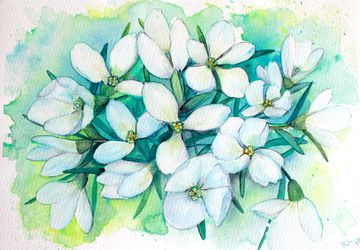 Snowdrops watercolor / watercolor flower wall art /white flowers painting