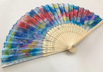 Tie Dye Hand Painted Hand Fan