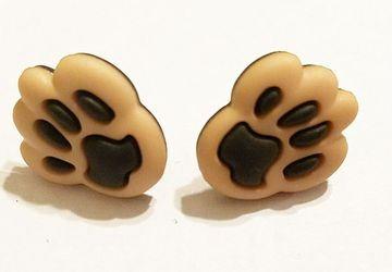 Adorable Light Brown Animal Paw Post Earrings #21