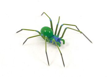 Green Garden Spider - Borosilicate Glass Sculpture by Rafael Glass