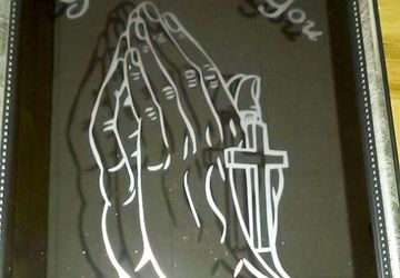 8x10 Etched God Bless You Hands Mirror