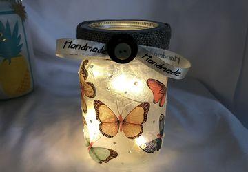 Handmade butterfly mason jar