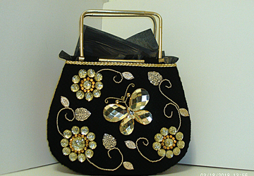 Black and Gold Jeweled tote bag