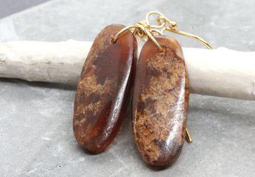 Garnet Gold Earrings Gold Filled Gemstone Jewelry January Birthstone Jewelry Stone Jewellery Handmade Accessories Brown Earrings